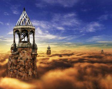 空、雲、塔