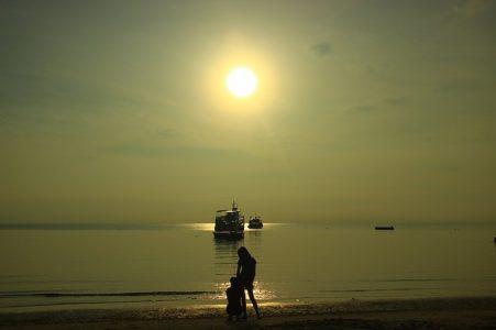 風景、太陽、海