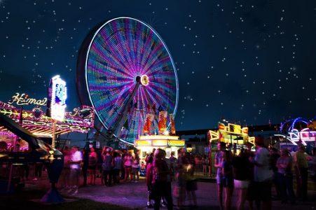 夜景、遊園地、観覧車