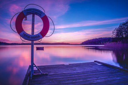 朝焼け、夕焼け、湖畔