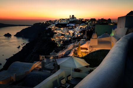 夕焼け、夜景、美しい