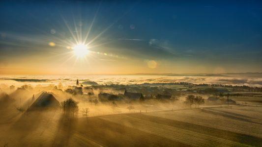 日の出、風景、荘厳