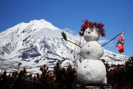 冬、雪だるま、雪山