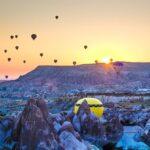 気球、夕焼け、朝焼け